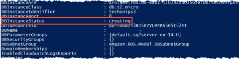 Deploy a MS-SQL database using AWS RDS and PowerShell