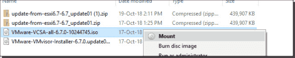Mount the VCSA 6.7 installation ISO
