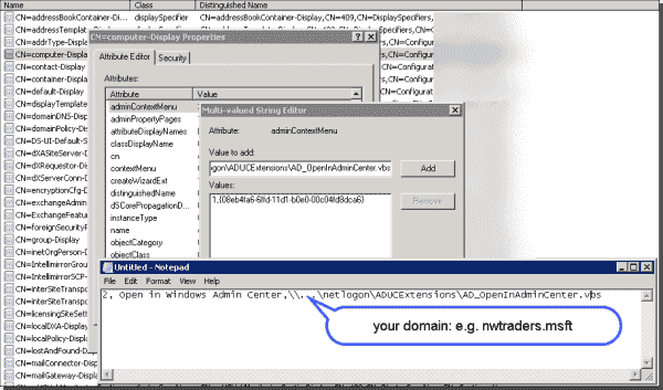 Specify the order, name, and location of the new entry in ADUC's computer object context menu