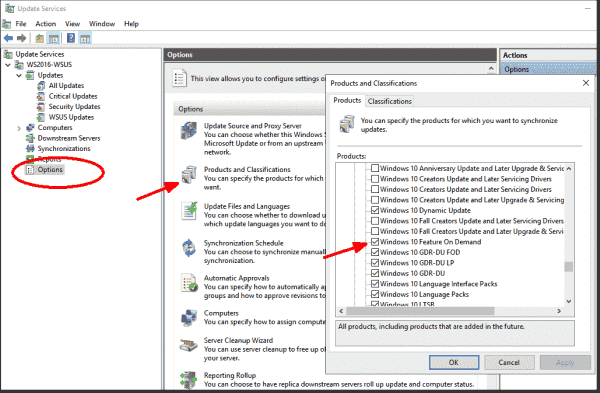 Subscribing to optional features in WSUS