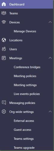 Teams service administrator dashboard menu