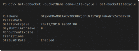 AWS lifecycle rules on S3 buckets with PowerShell