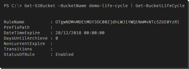 Using Get BucketLifeCycle to view lifecycle rules