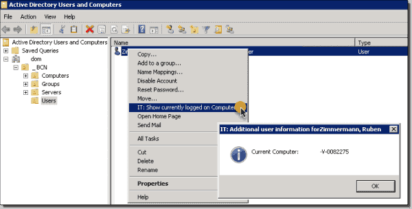 ADUC displaying the current logged on computer