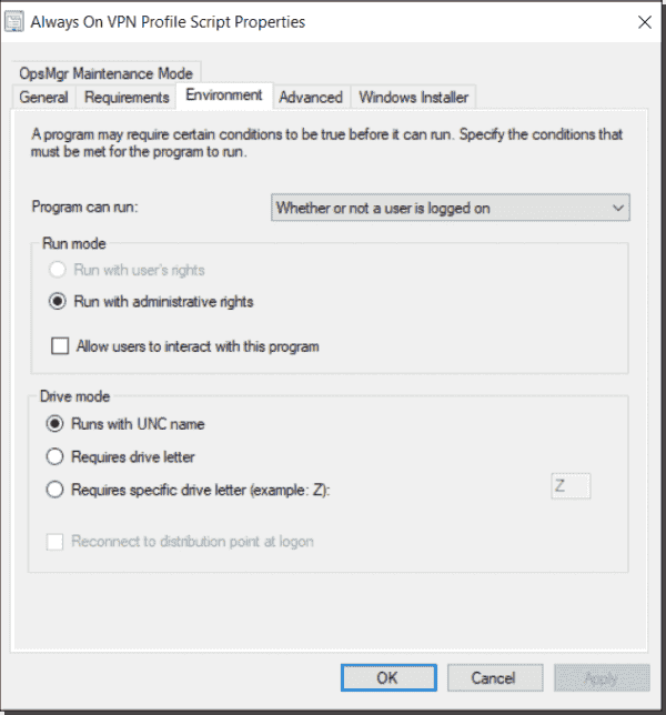 Always On VPN device profile deployment with SCCM