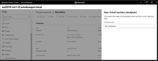 Create a new VM checkpoint in Windows Admin Center