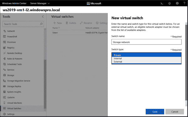 Create new vSwitch for Hyper V host in Windows Admin Center
