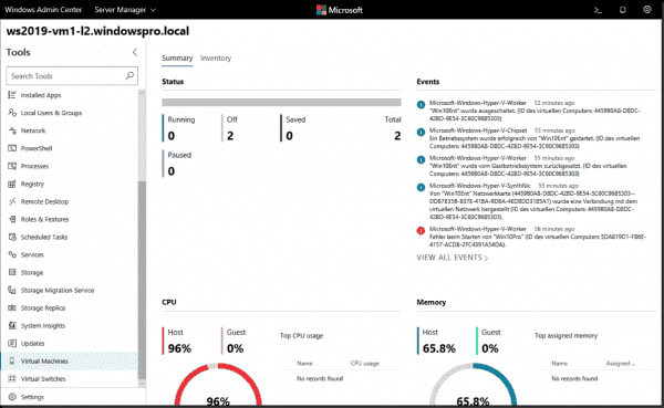 Dashboard for Hyper V in Windows Admin Center