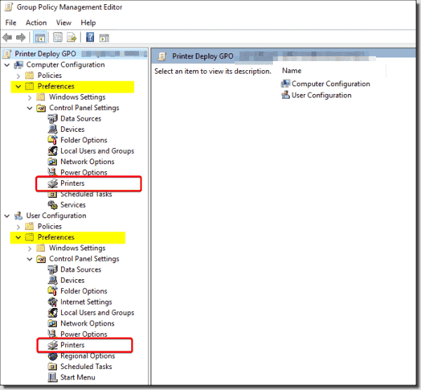Group Policy Preferences options