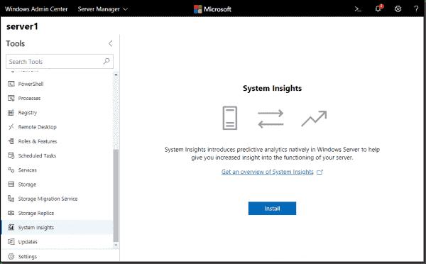 Install System Insights from Windows Admin Center