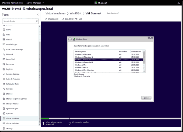 Installing a guest operating system within Admin Center