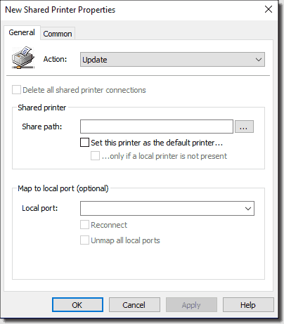New shared printer properties
