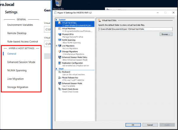 Settings for Hyper V hosts in Windows Admin Center versus Hyper V Manager