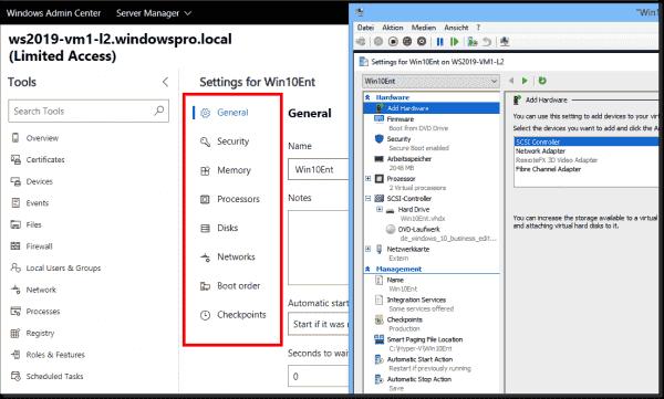 VM settings in Windows Admin Center and Hyper V Manager
