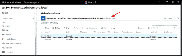 Windows Admin Center makes it easy to use Azure services for your local VMs