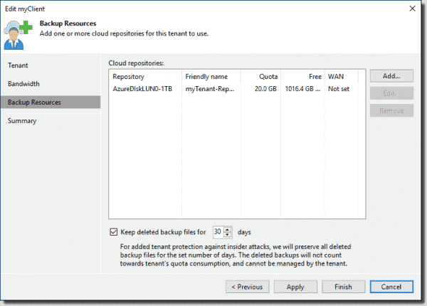 Add a tenant Cloud repository