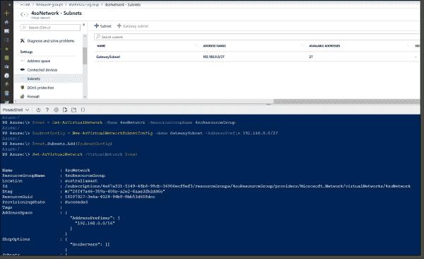 Adding a subnet to an Azure Virtual Network