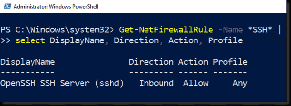 Checking the firewall rule for SSH