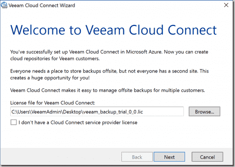 Configure Azure for use as a Veeam Cloud Service Provider