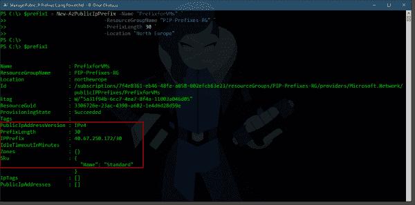 Creating a new public IP prefix