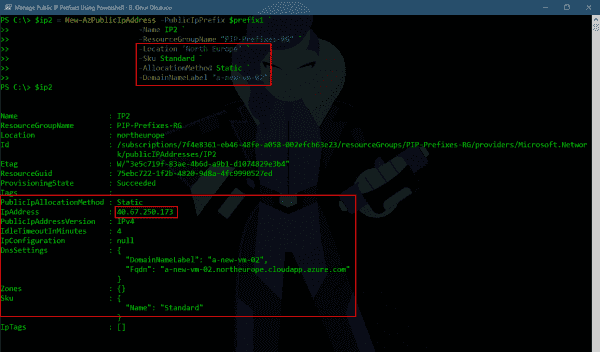 Creating a second Public IP from the same Public IP Prefix