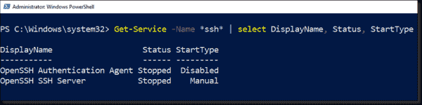 Displaying the startup type and status of SSH services with PowerShell