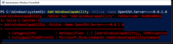 Error while installing OpenSSH as an optional feature in WSUS environments