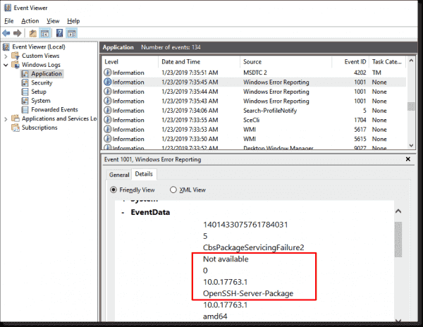 Eventlog entry when adding OpenSSH server as optional component in a WSUS environment