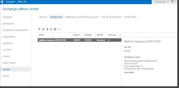 Exchange Server database management