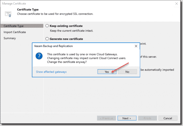 Import a certificate Warning