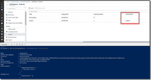 NSG applied to an Azure subnet