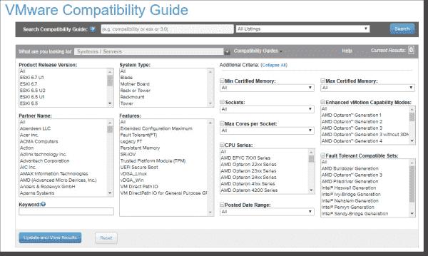 VMware compatibility list web page