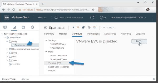 Where to configure per VM EVC