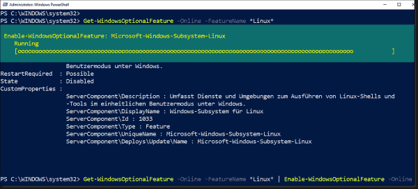 Adding a Linux subsystem using PowerShell