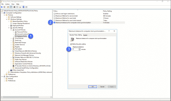 Adjusting Kerberos time tolerance in Group Policy