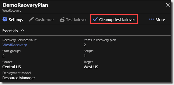 Cleanup test failover