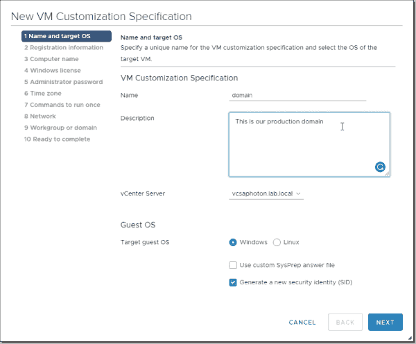 Create a new VM customization specification