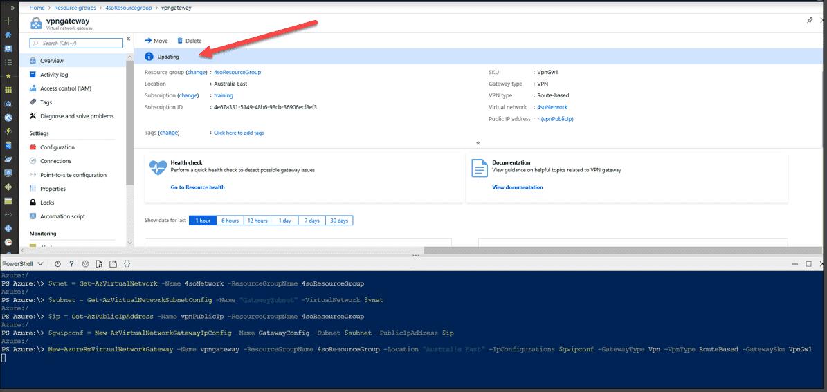 Creating an Azure VPN gateway