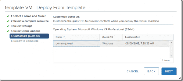 Customize a VM from a template