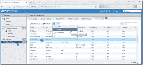 How to open and close firewall ports on VMware ESXi hosts