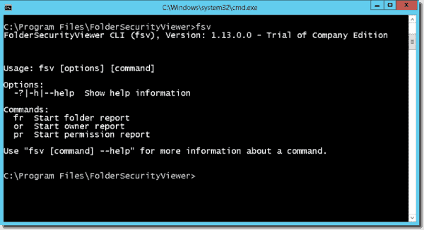 FolderSecurityViewer command line tool