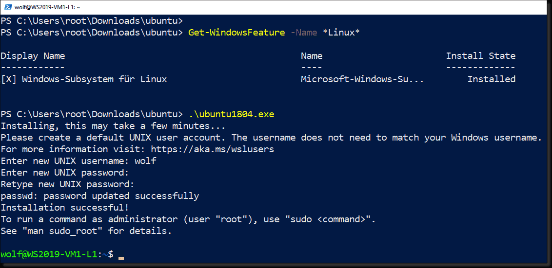 Install Subsystem for Linux in Windows 10 LTSC and Server