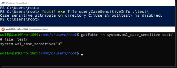 Querying whether a directory has been marked as case sensitive