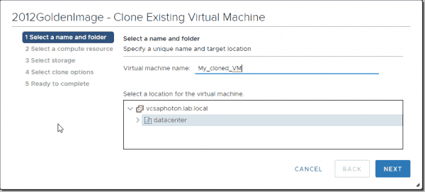 Specify a name for your new VM
