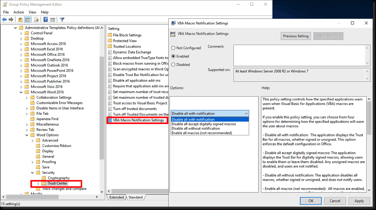 Restricting or blocking Office 2016/2019 macros with Group Policy