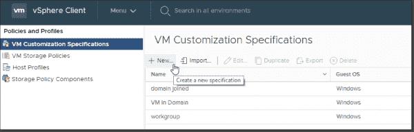 VM customization specification