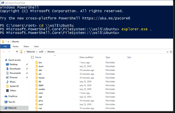 You can display files in the Linux directories in the Explorer from Windows 10 1903 onwards