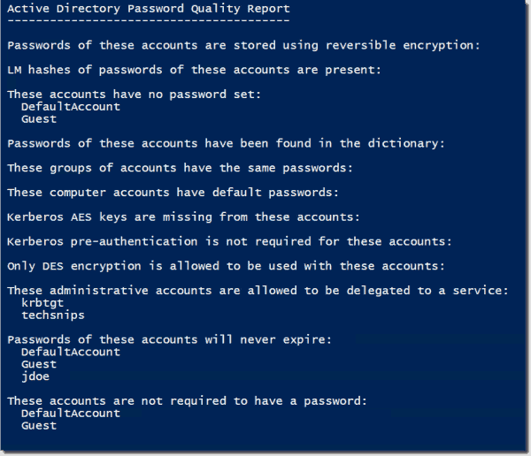 Active Directory Password Quality Report