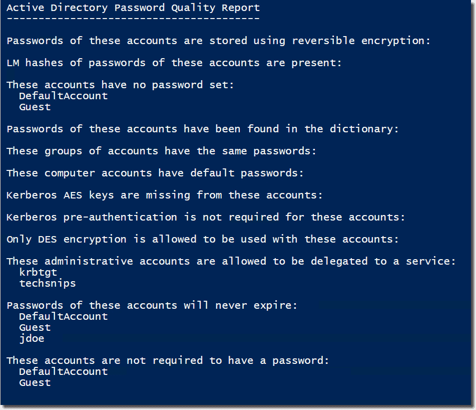 Find weak Active Directory passwords with PowerShell