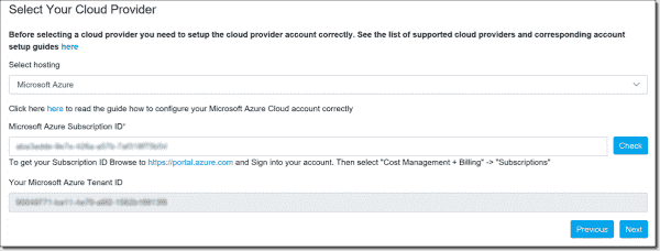 Azure subscription information